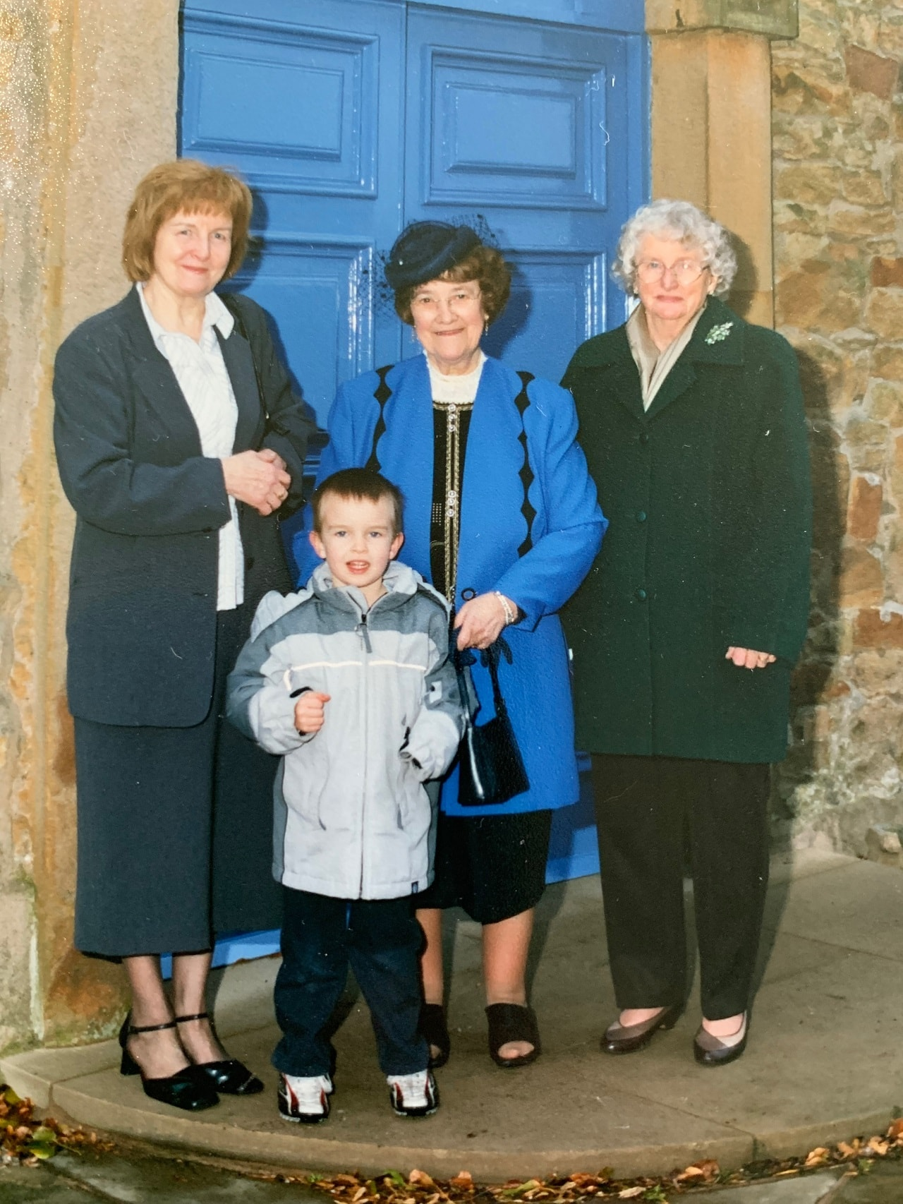 Cometan with his maternal grandmother, Hilda Warbrick (left), his paternal grandmother, Irene Taylor (centre), and his great aunt, Monica Bolton (right).