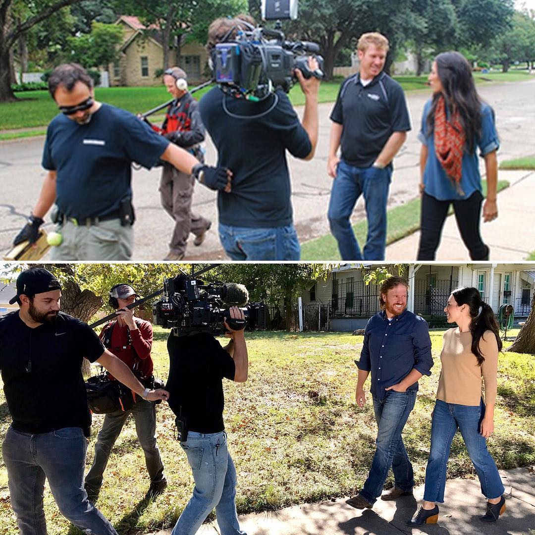 Joanna Gaines And Her Husband Chip Gaines While Filming Fixer Upper In 2012 And 2017