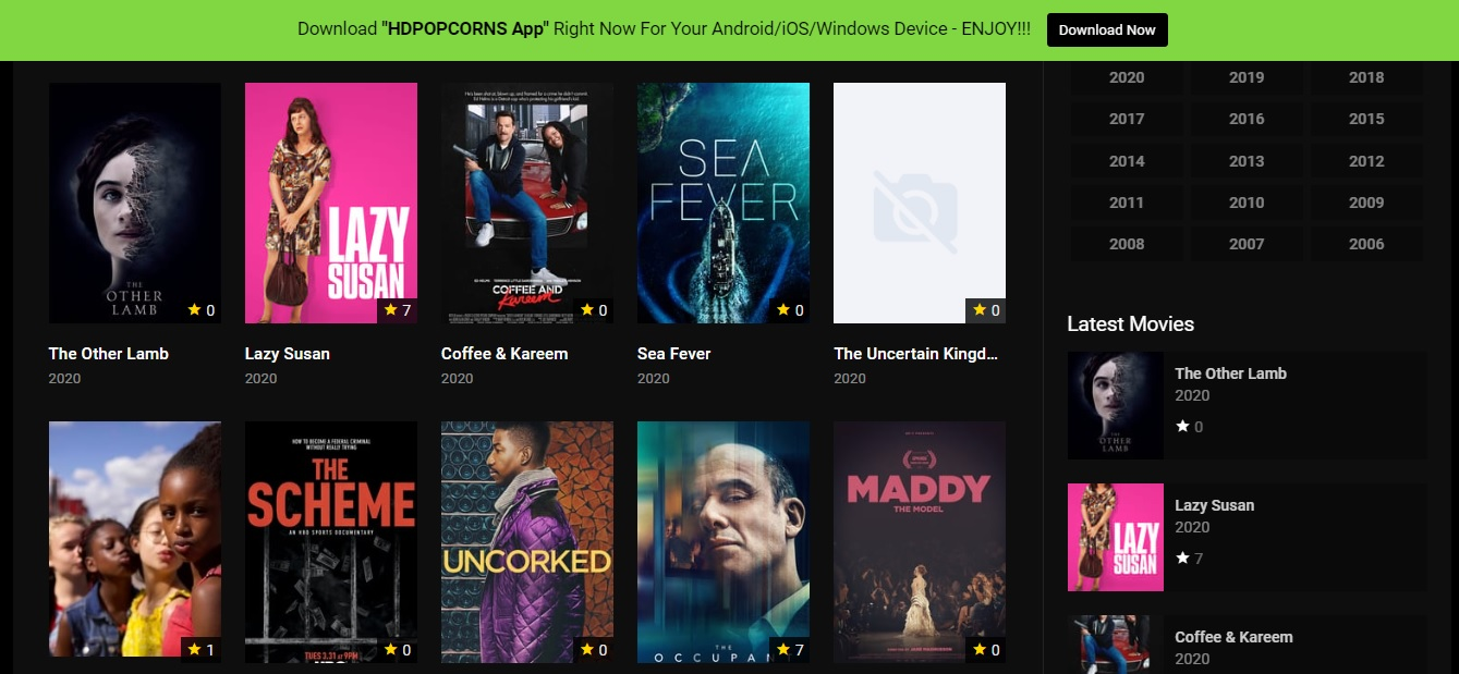HDpopcorns site